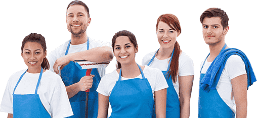 Two men and three women standing in white shirt and blue apron with mop and rag